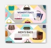Packe av horisontalrengöringsdukbanermallar med män och kvinnors påsar och handväskor Ljus kulör plan vektor vektor illustrationer