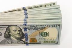 Packe av hundra dollarsedlar mycket pengar Royaltyfri Fotografi