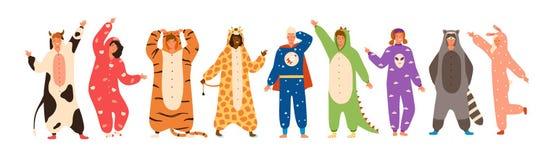 Packe av iklädda onesies för män som och för kvinnor föreställer olika djur och tecken Ställ in av bärande jumpsuits för folk royaltyfri illustrationer