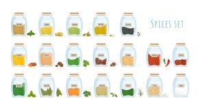 Packe av kryddor som lagras i stängda isolerade exponeringsglaskrus på vit bakgrund Ställ in av kryddiga smaktillsatser, aromatis stock illustrationer