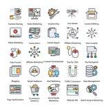 Packe av kulör internet och Digital marknadsföringssymboler royaltyfri illustrationer