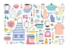 Packe av manuella och elektriska hjälpmedel för köksgeråd, för husmanskost eller hemlagade mål förberedelse, matingredienser vektor illustrationer