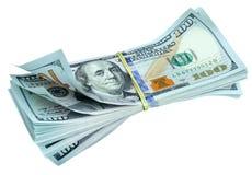 Packe av nya dollarräkningar Fotografering för Bildbyråer