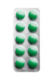 Packe av pills som isoleras över white Arkivfoton
