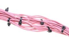 Packe av rosa kablar med svarta kabelkontakter Arkivfoton