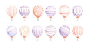 Packe av runda ballonger för varm luft av olik textur och färg som isoleras på vit bakgrund Färgad uppsättning av pastell vektor illustrationer