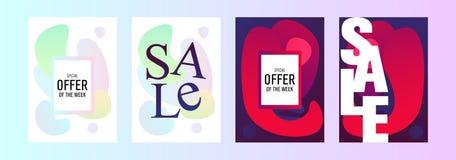 Packe av sex försäljningsbanermallar Sale Abstrakt krabb formbakgrund stock illustrationer