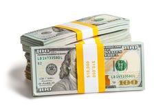 Packe av 100 US dollar upplagasedlar 2013 Arkivfoton