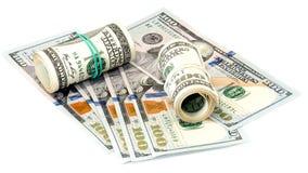 Packe av USA 100 dollar sedlar Arkivfoton
