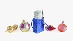 Packe av valörer bland nytt års toys Fotografering för Bildbyråer