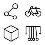 Packe av vetenskaps- och utbildningslinjen symboler vektor illustrationer