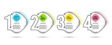 Packe-, cykelparkering och lastbilparkeringssymboler Leveranspacken, cykel parkerar, fritt parkerar automatisk dörr vektor stock illustrationer