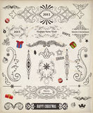 Packe för jultappningvektor av dekorativa beståndsdelar Stock Illustrationer