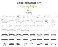 Packe för logoskapelsesats Campa upplagauppsättning Bandvektorformer och beståndsdelar skapar din egen utomhus- etikett vektor illustrationer