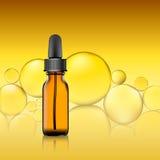 Packe för nödvändig olja på gul bubblabakgrund homeopatibalsam Royaltyfri Fotografi