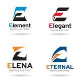 Packe Logo Template Design Vector för bokstav E Royaltyfri Illustrationer