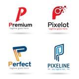 Packe Logo Template Design Vector för bokstav P Stock Illustrationer