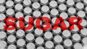 Packed Array of Aluminum Cans with Sugar Label Royalty Free Stock Image