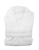 White bathrobe. A packed bathrobe, isolated on a white background royalty free stock photo