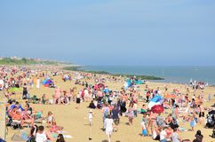 Packed beach during Airshow at Clacton on Sea Stock Photography