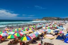 Packed Beach in Montanita, Ecuador stock photo