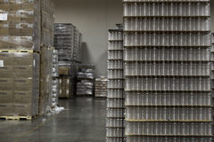 Packed bottled water kept in warehouse Royalty Free Stock Photos