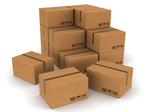 Packed boxes cartons. Cartons of cardboard boxes sealed with plastic tape, stacked and spread on white background, cargo, shipping and inventory concept Stock Photos