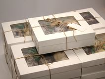 Packed boxes with cookies tied with rope stock images