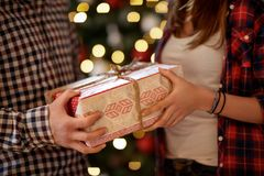 Packed Christmas gift, concept Stock Photography