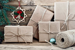 Packed Christmas presents closeup Stock Photos