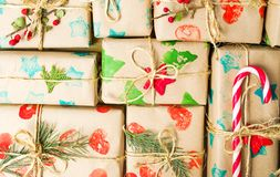 Packed Christmas presents background. Packed Christmas presents making a background pattern Royalty Free Stock Image