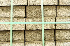 Packed clinker bricks Stock Photo