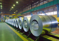 Packed coils of steel sheet Royalty Free Stock Photos