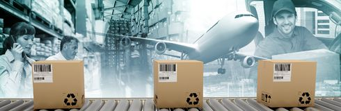 Composite image of packed courier on conveyor belt. Packed courier on conveyor belt against commercial dock by sea Royalty Free Stock Images