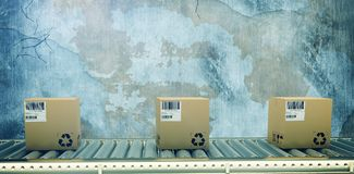 Composite image of packed courier on conveyor belt stock image