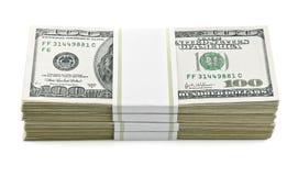 Packed dollars money. On white background Stock Photography
