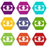 Packed dollars money icon set color hexahedron. Packed dollars money icon set many color hexahedron isolated on white vector illustration Stock Images