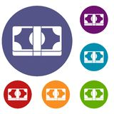 Packed dollars money icons set. In flat circle reb, blue and green color for web Royalty Free Stock Photo