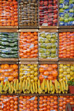 Packed fruits organized in crates Stock Photo
