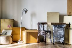 Packed furniture preparing to move out royalty free stock photography