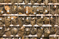 Packed gas-masks in cells Royalty Free Stock Images