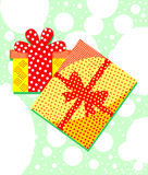 Packed gift boxes. Surprises. Elegant and colorful illustration.  Stock Images