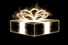 Packed gift by sparkler style. Stock Photography
