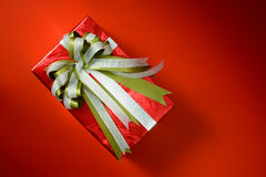 Packed glittery red present container  present container Royalty Free Stock Photos