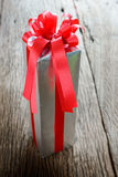 Packed glittery silver present container Royalty Free Stock Images