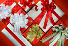 Packed glittery silver, red present container Royalty Free Stock Photo