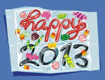 Packed Happy 2013. New Year as candies packed and sealed in a plastic bag Stock Images