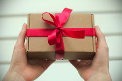 Packed holiday gift Stock Photos
