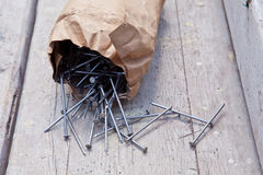 Packed iron nails Royalty Free Stock Photography
