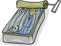 Packed like sardines saying cartoon. Cartoon Humor Concept Illustration of Packed Like Sardines Saying or Proverb Royalty Free Stock Photography